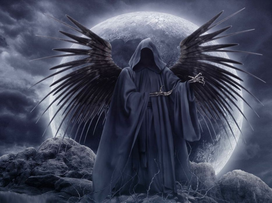 Clouds wings grim reaper moon gothic skeletons skyscapes wallpaper