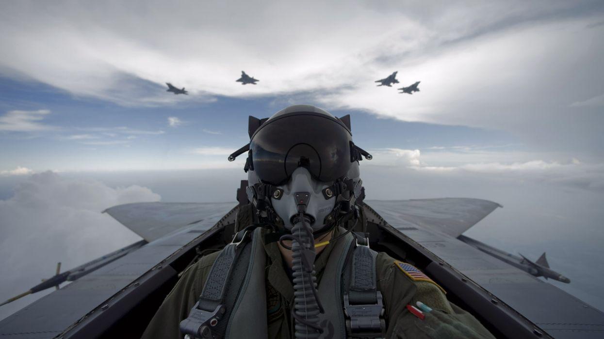 Aircraft army military pilot self shot wallpaper