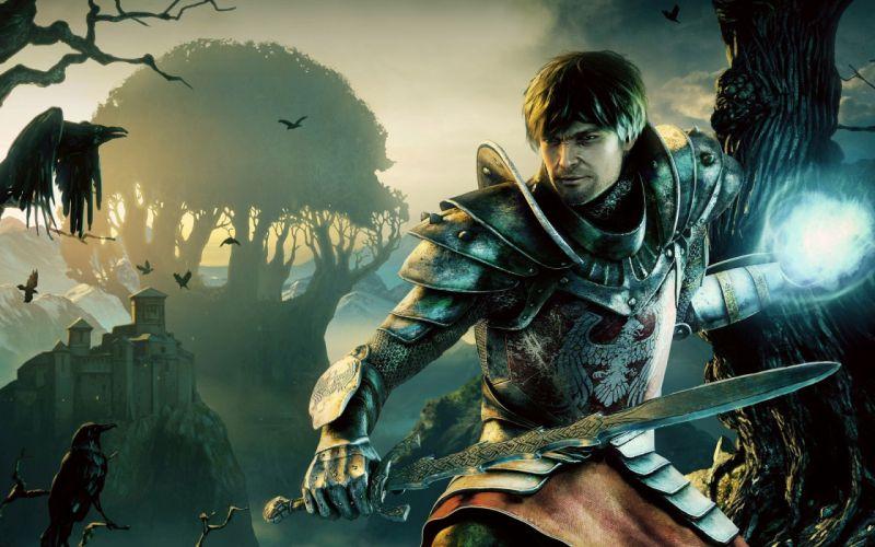Fantasy men armor magic crows swords wallpaper