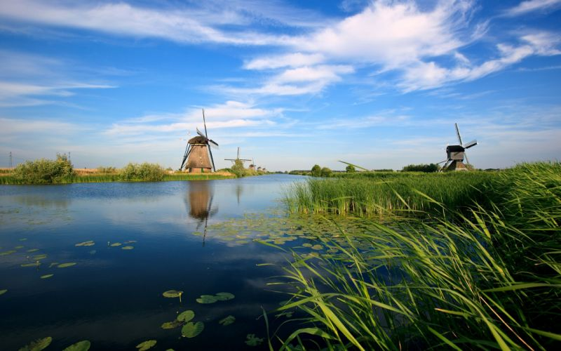Landscapes world windmills wallpaper