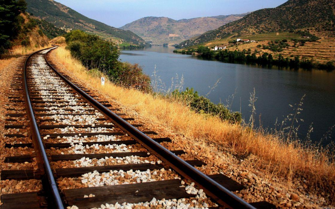 Water landscapes railroads wallpaper