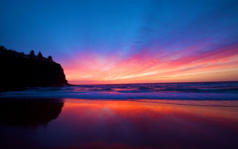 Sunset landscapes nature beach seas dark wallpaper