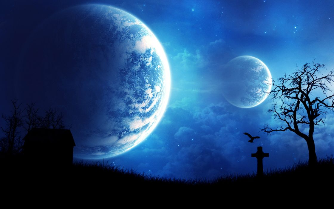 Outer space planets graves wallpaper