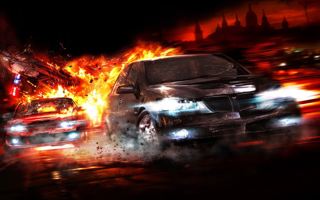 Cars explosions pontiac police cars wallpaper