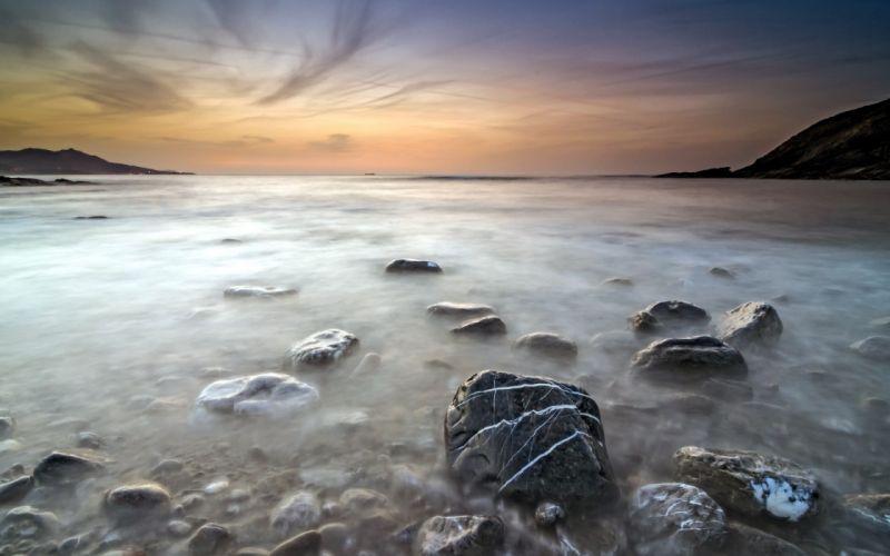 Landscapes nature coast rocks stones wallpaper