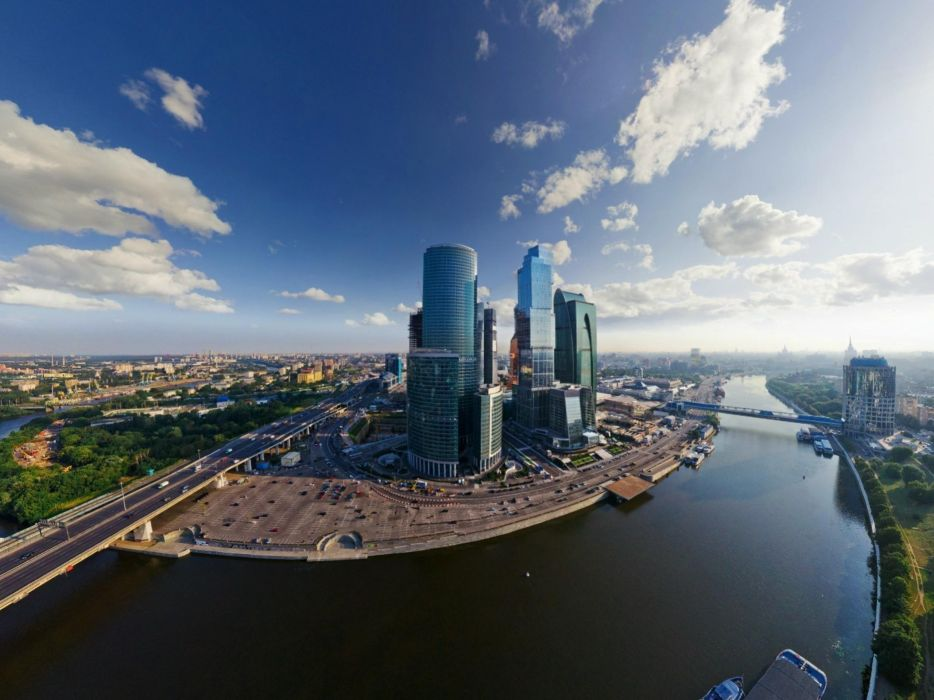 Nature cityscapes moscow fisheye effect blue skies wallpaper