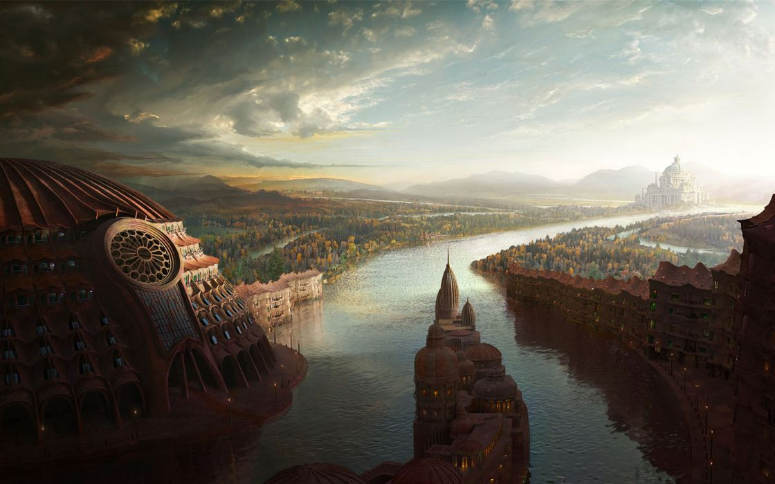 Cityscapes fantasy art rivers wallpaper
