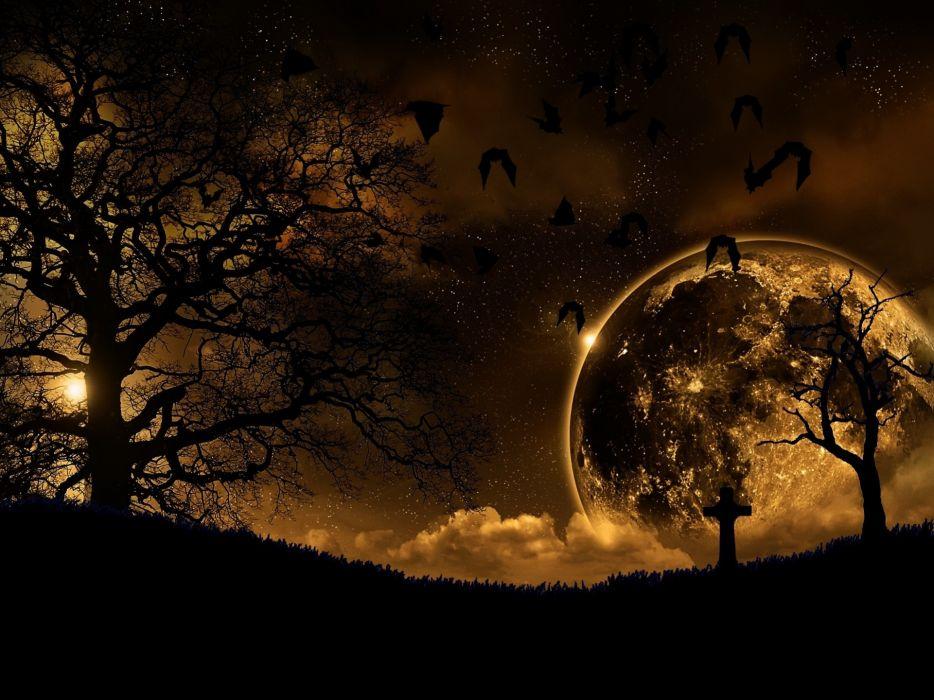 Abstract night moon graveyards bats wallpaper