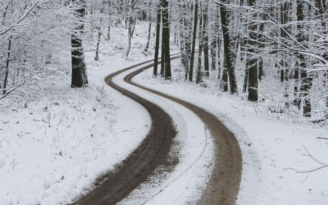 Snow roads winter landscapes wallpaper