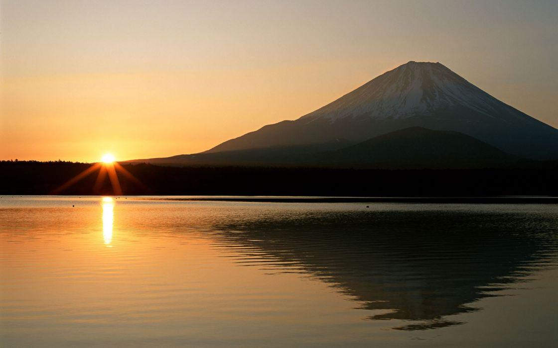 Sunset mountains lakes wallpaper