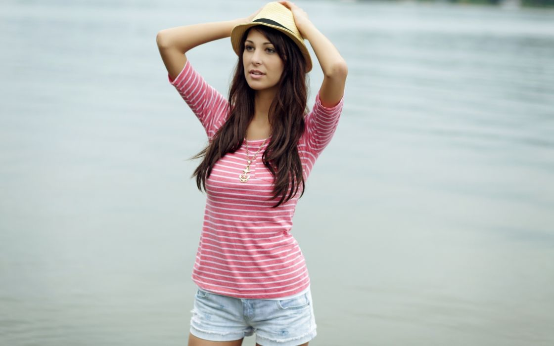 Brunettes women hipster hats denim shorts wallpaper