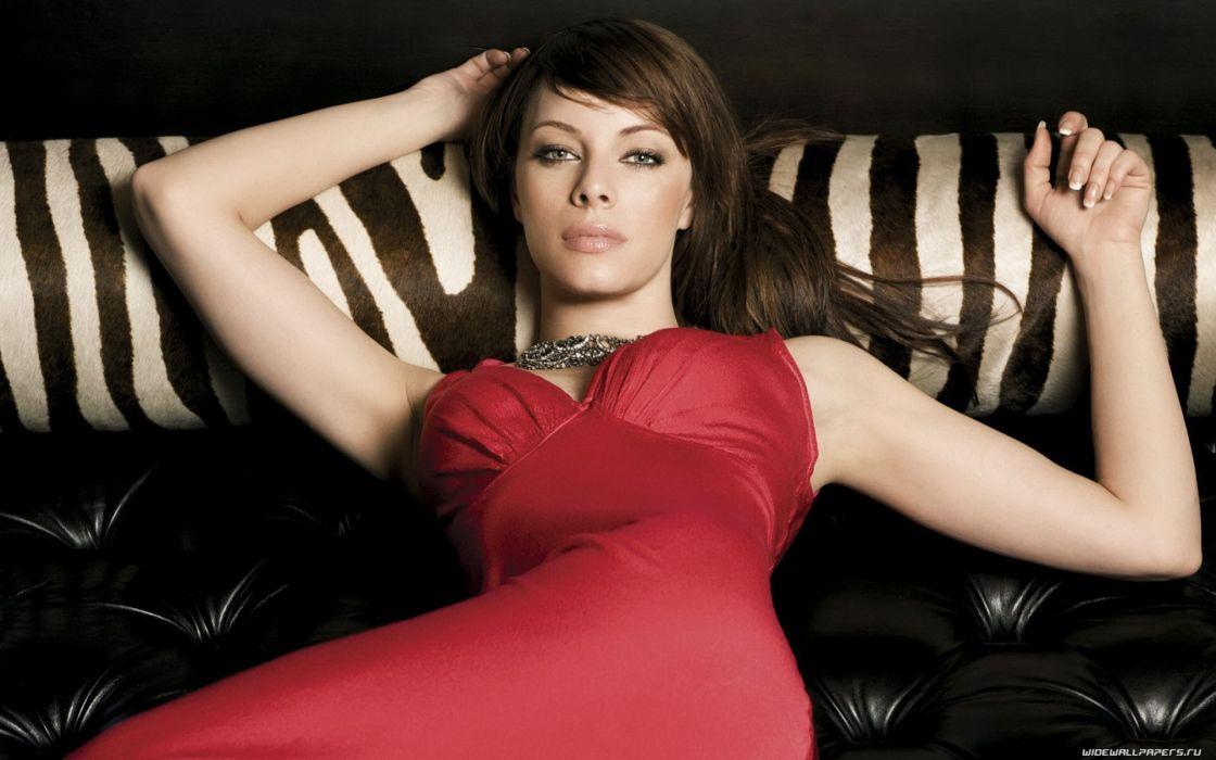 Brunettes women melinda clarke red dress wallpaper