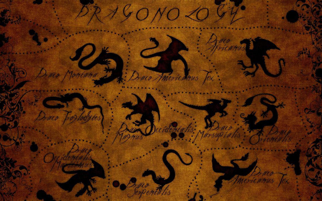 Dragons texts patterns textures wallpaper