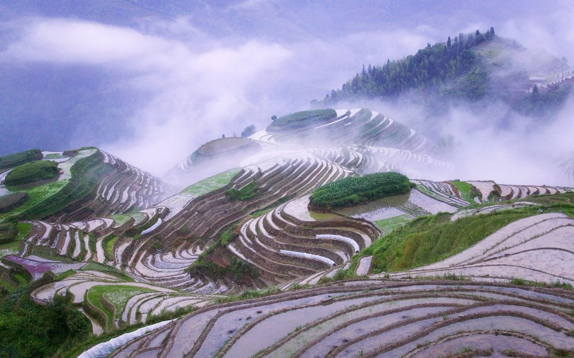 Mountains clouds landscapes fields mist rice misery wallpaper