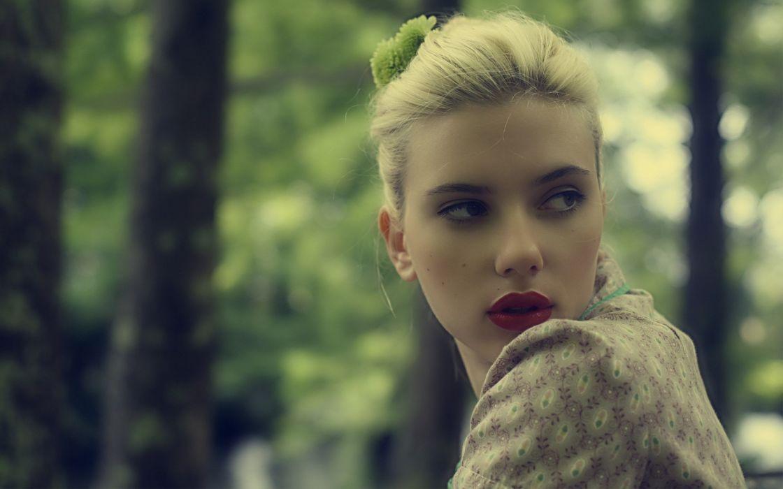 Blondes women scarlett johansson actress lipstick depth of field wallpaper