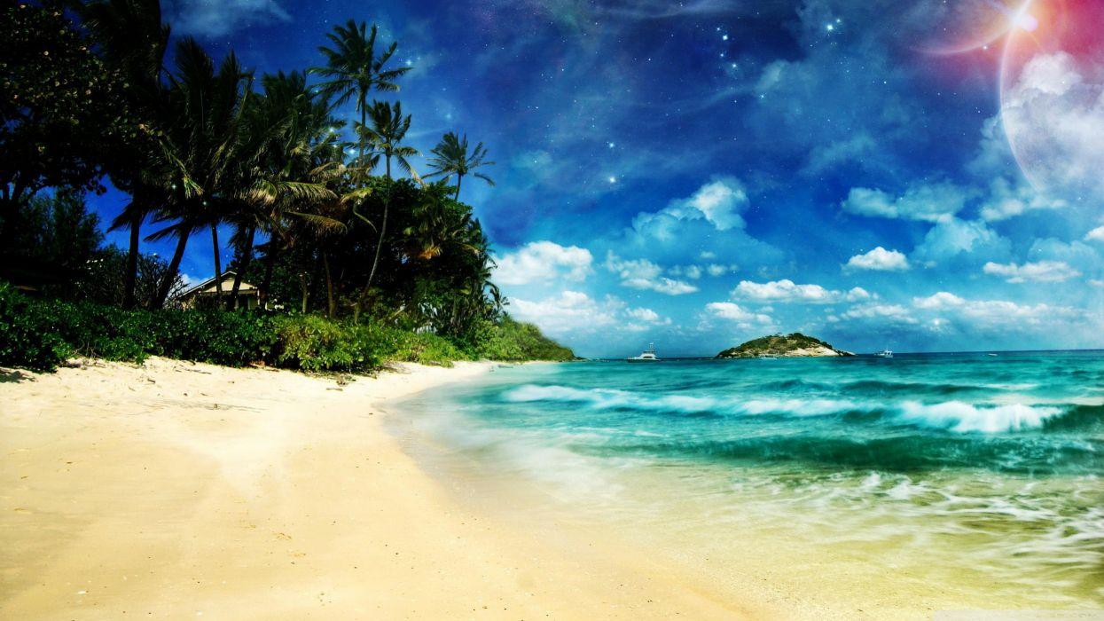 Landscapes beach digital art wallpaper