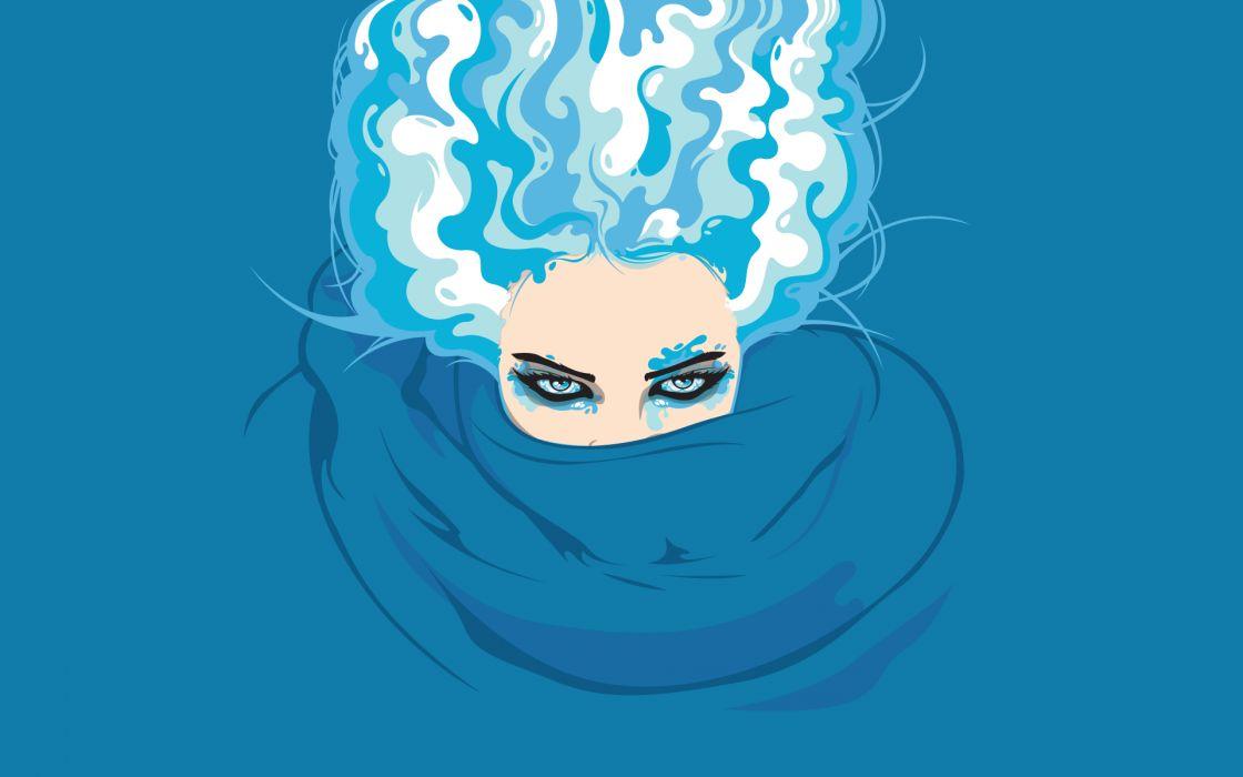 Artistic head blue hair wallpaper