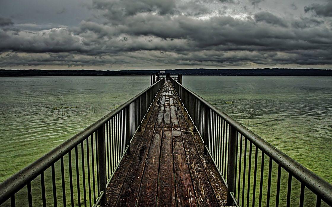 Clouds skylines bridges lakes wallpaper