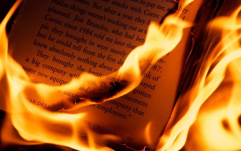 Fire books wallpaper
