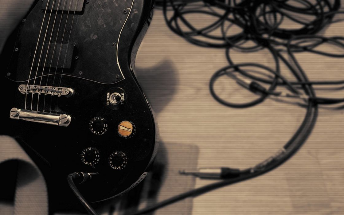 Floor black music guitars pickup trucks wire wallpaper
