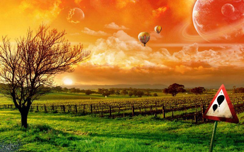 Landscapes hot air balloons photomanipulations wallpaper