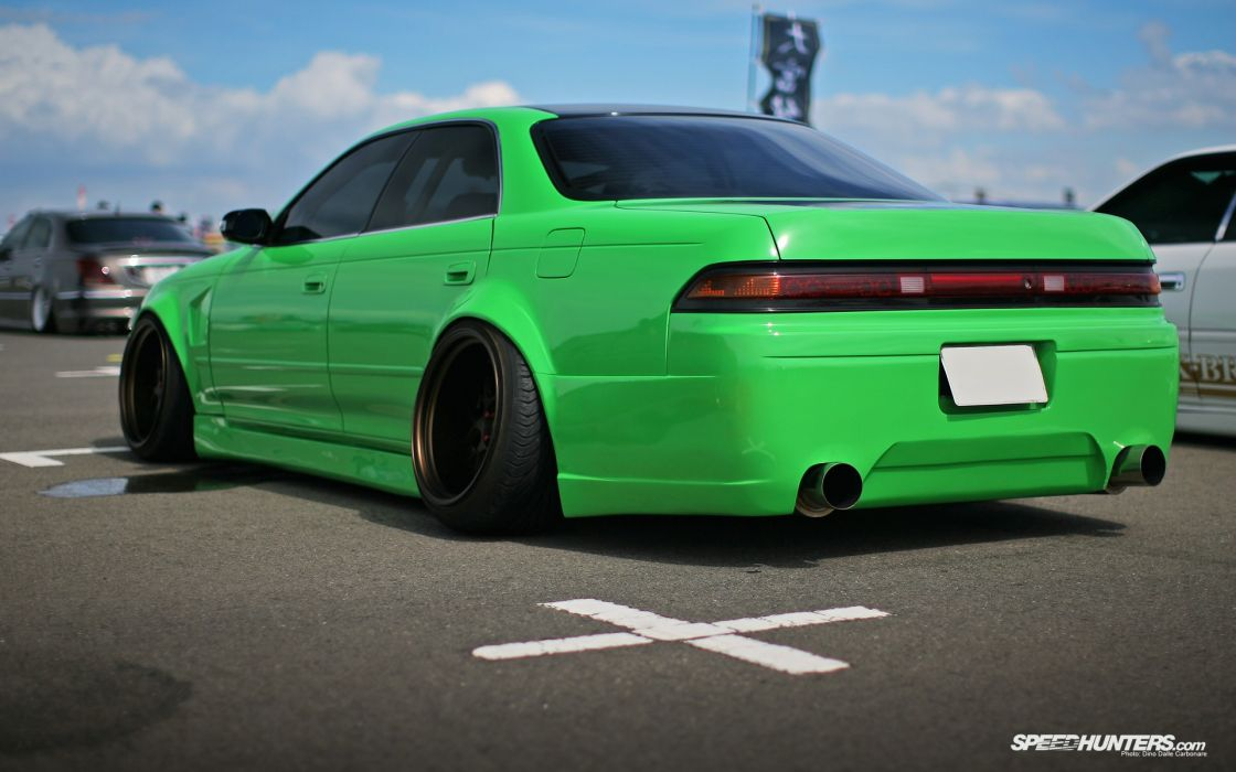 Green cars toyota mark tuning suspension stance wallpaper