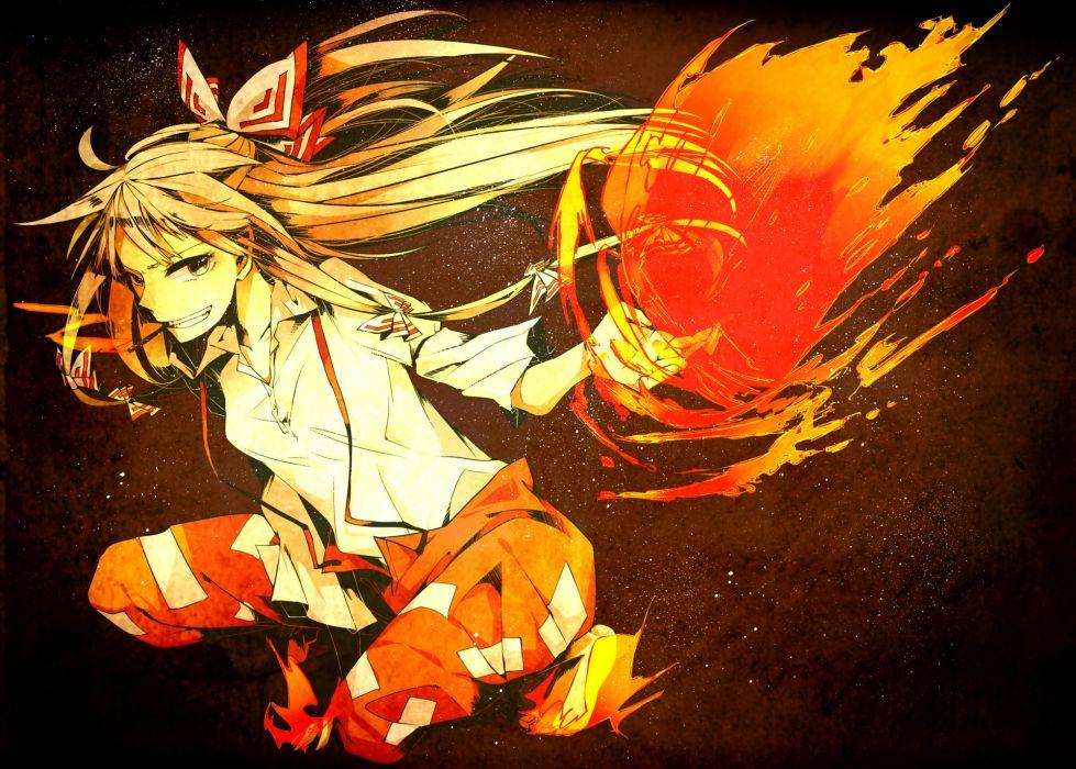 Touhou fire long hair ribbons fujiwara no mokou anime - Anime girls with fire ...