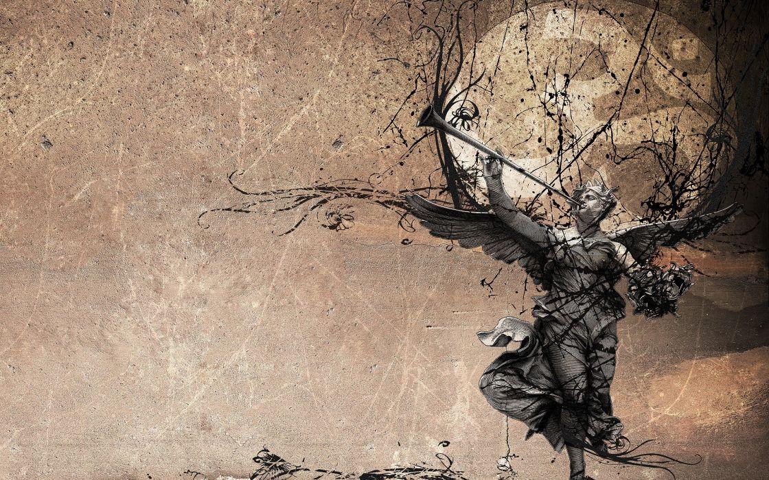 Grunge statues digital art artwork wallpaper