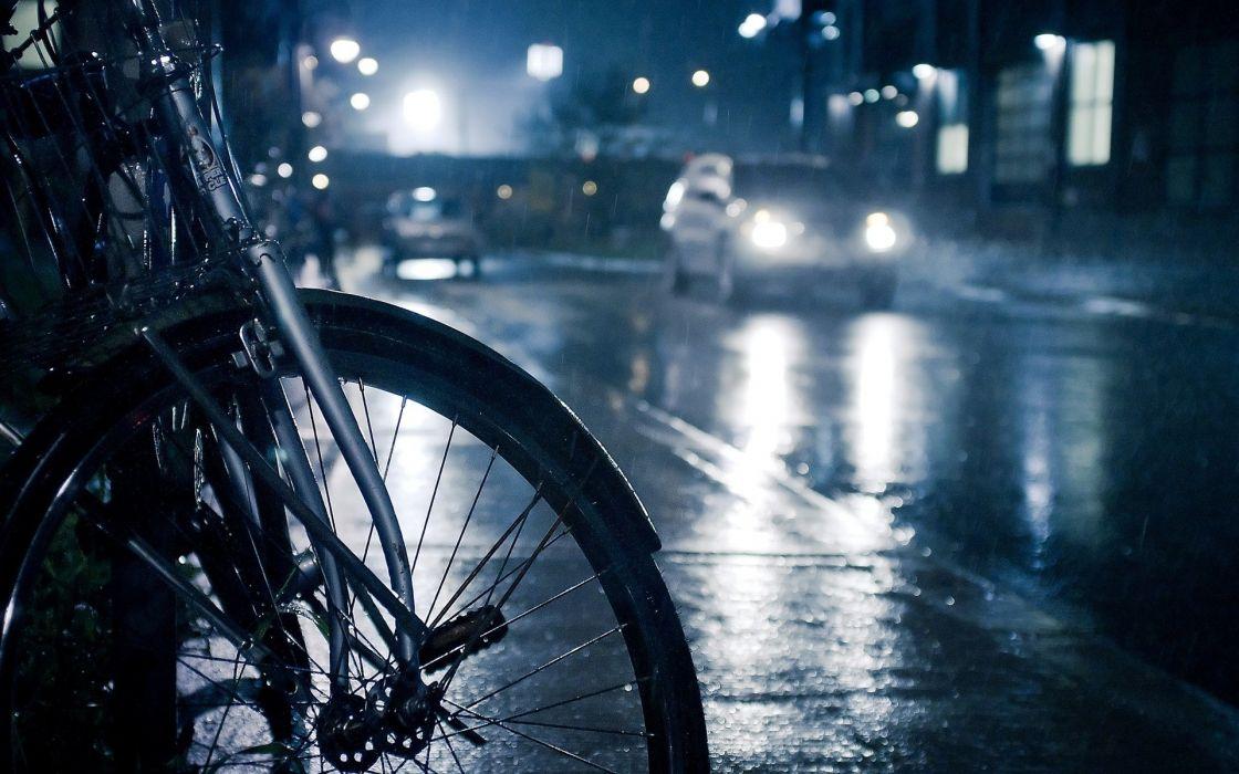 Streets rain cars bicycles wallpaper