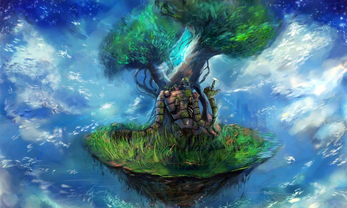 Ocean hayao miyazaki ruins robot grass wind studio ghibli anime manga shiro cloud laputa castle in the sky ghibli wallpaper