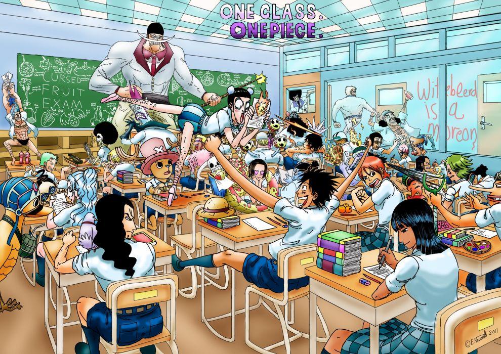 One piece (anime) nico robin school roronoa zoro chopper brook anime franky tony tony chopper monkey d luffy class nami (one piece) usopp sanji (one piece) wallpaper
