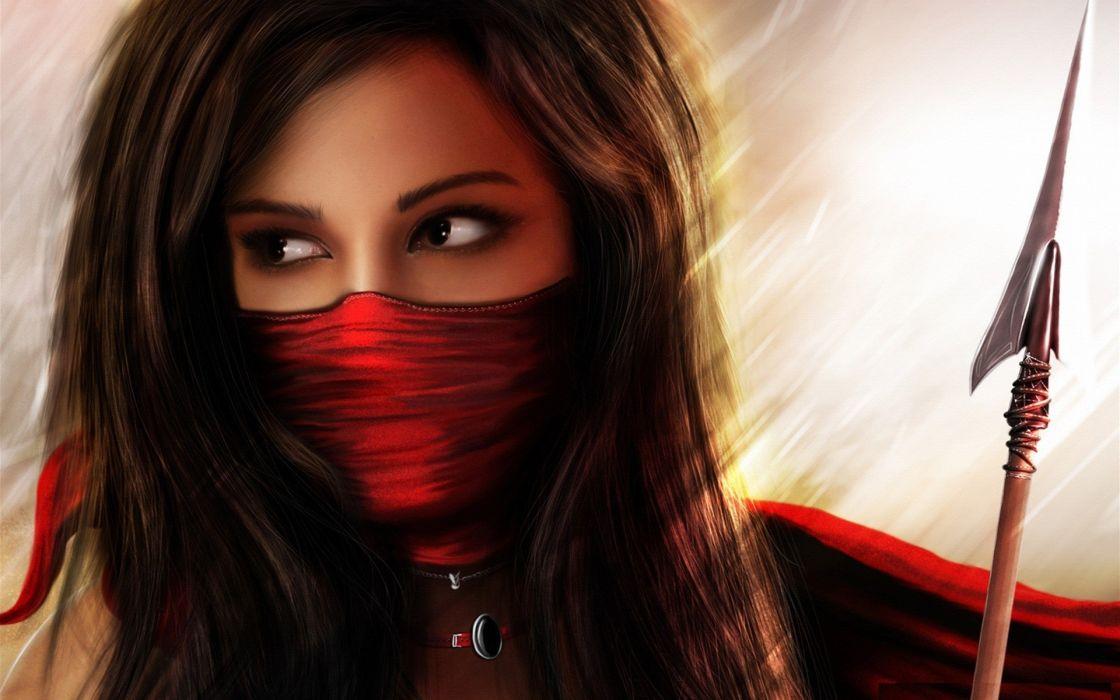Brunettes women red warriors spears wallpaper