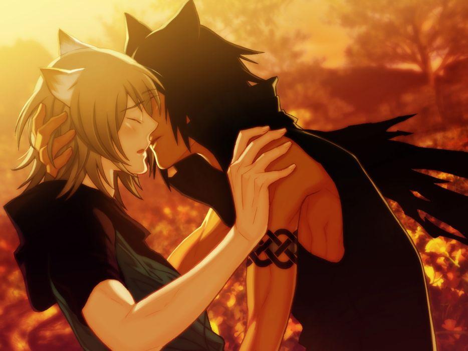 Kissing nekomimi yaoi cat ears anime anime boys wallpaper