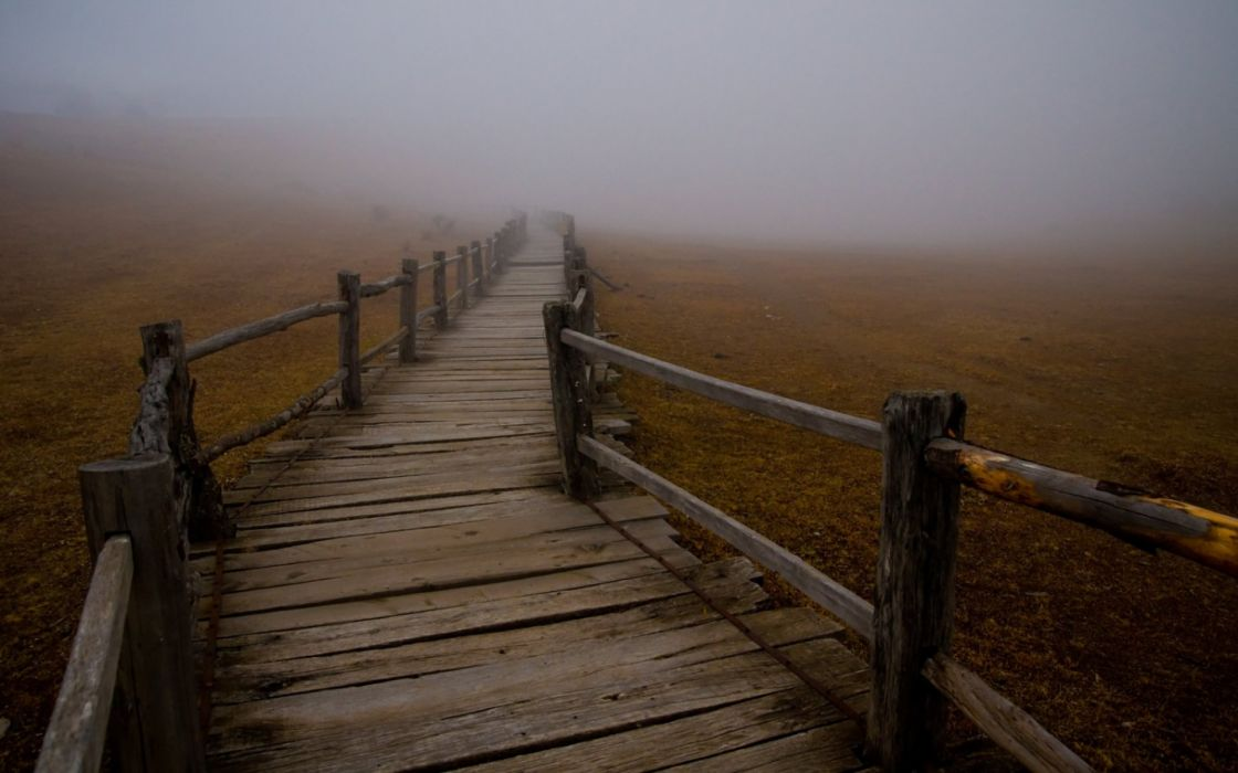 Fog mist wooden bridge wallpaper