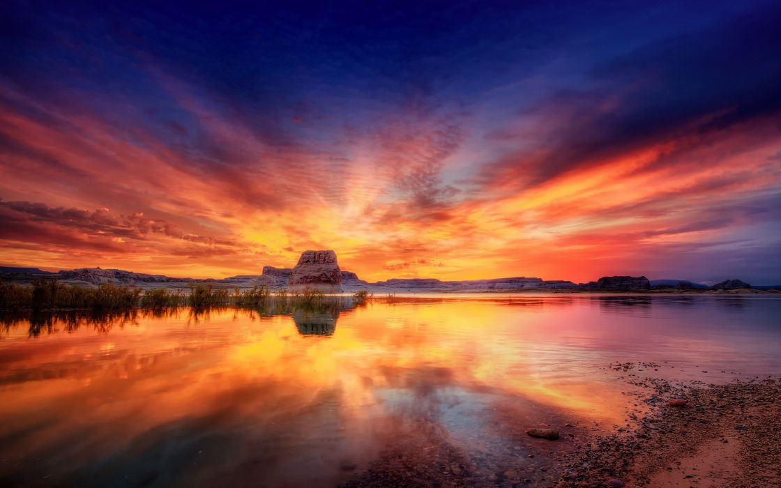 Sunset blue landscapes trees lakes rivers wallpaper