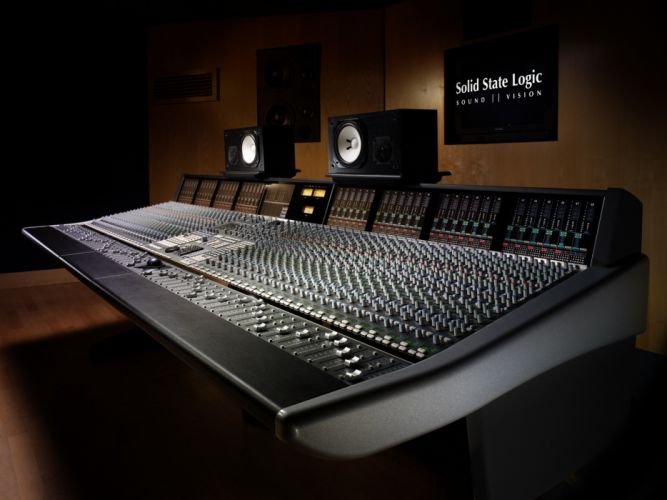 Music studio mixing tables sound wallpaper