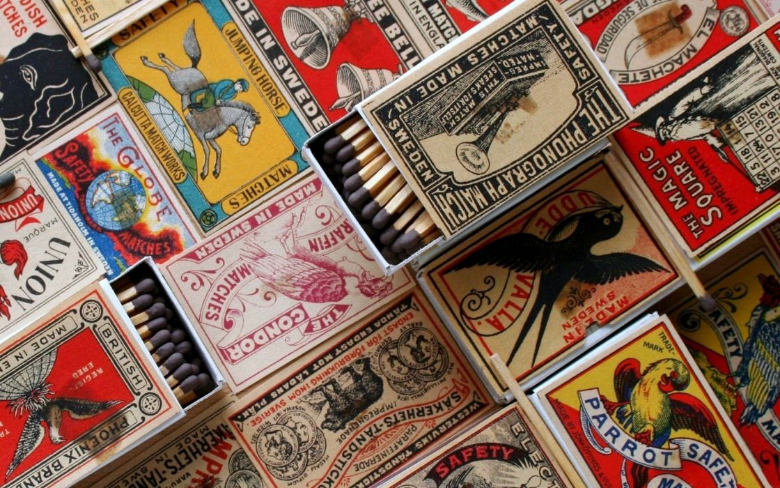 Matchboxes matchsticks wallpaper