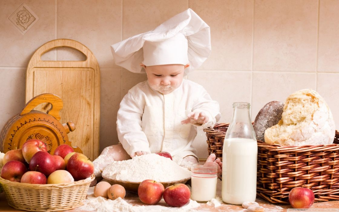 Baby milk food kids bread cooking chief apples cooks wallpaper