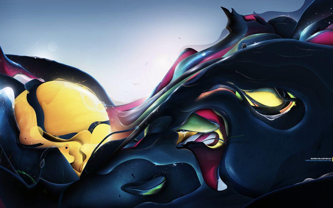 Abstract waves artwork wallpaper