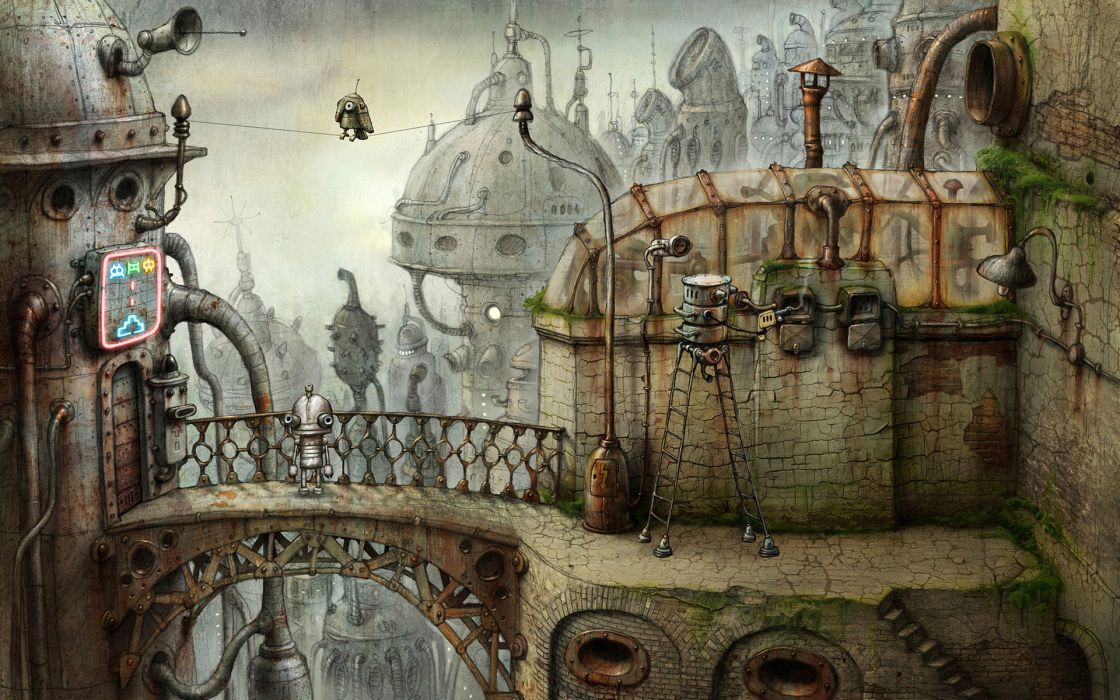 Fantasy surreal machinarium robot city wallpaper