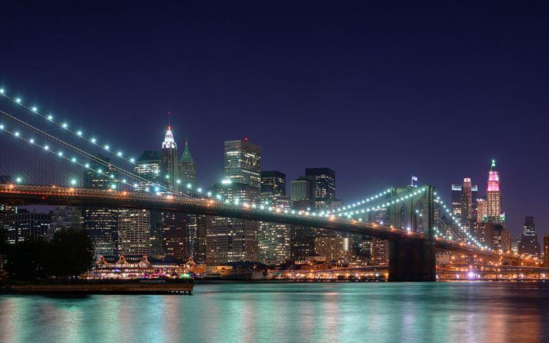 Landscapes cityscapes bridges buildings new york city wallpaper