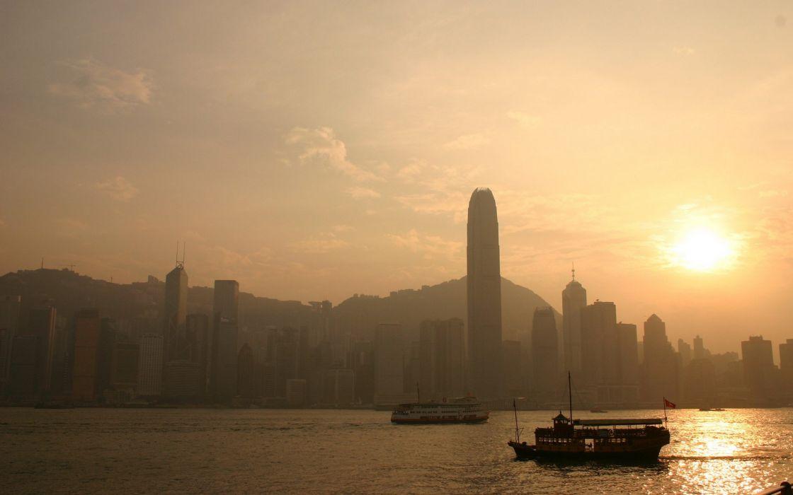 Sunset landscapes nature cityscapes buildings hong kong wallpaper
