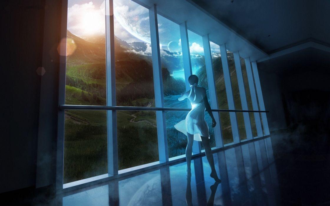 Women outer space fantasy art artwork wallpaper
