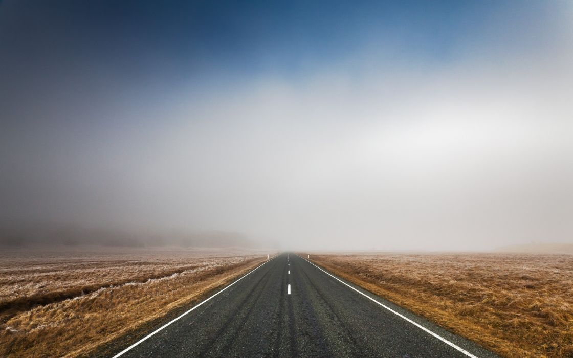 Landscapes mist roads wallpaper
