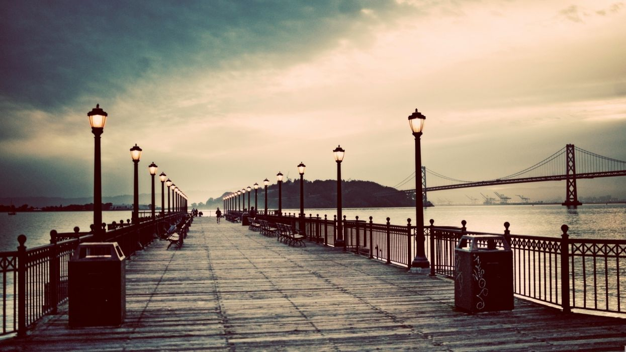 Abstract vintage pier wallpaper