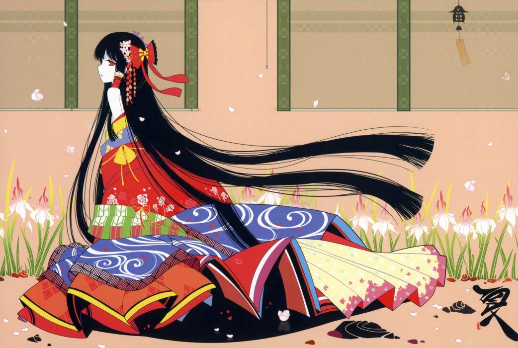 Brunettes touhou flowers long hair kimono red eyes hakurei reimu bows flower petals japanese clothes anime girls ideolo wallpaper