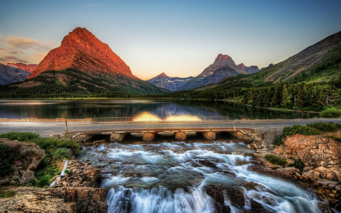Mountains landscapes nature bridges hdr photography wallpaper