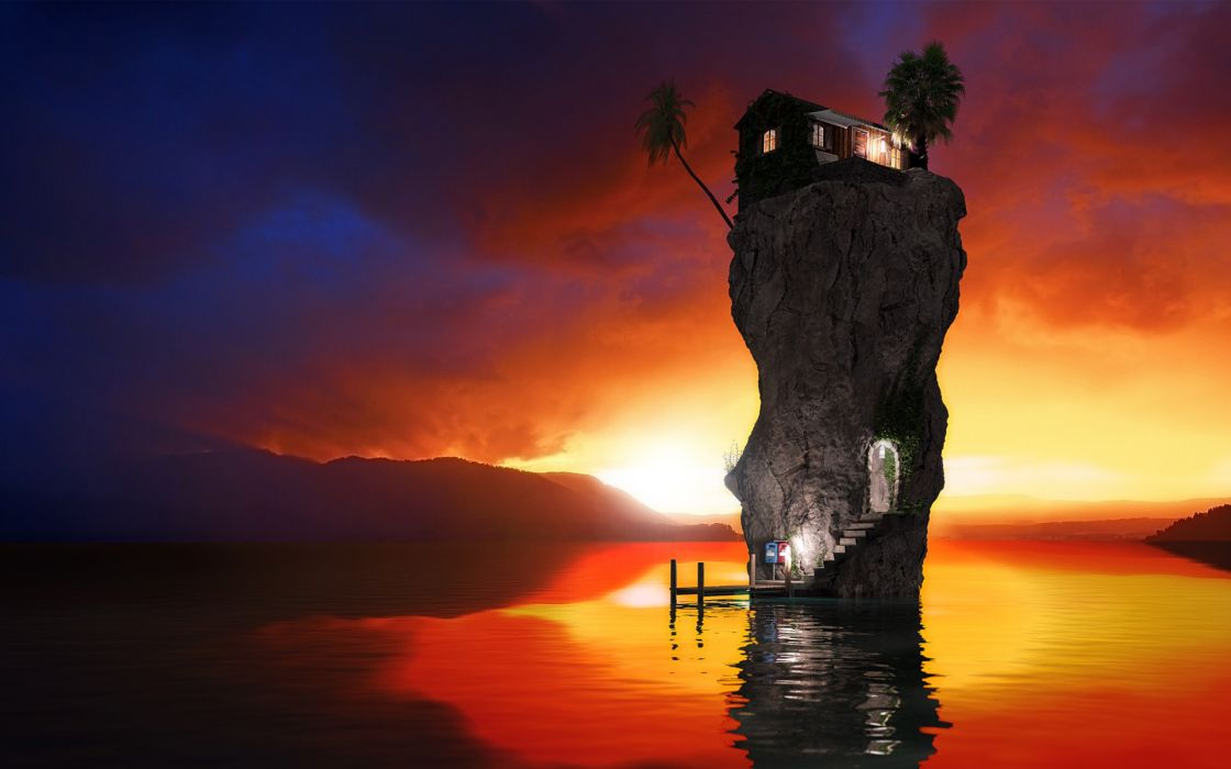 Water sunset houses rocks stairways palm trees reflections rendering wallpaper