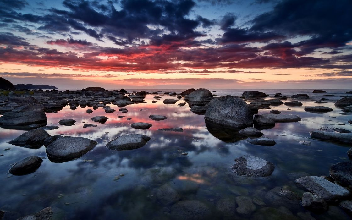 Sunrise clouds nature seas germany rocks seascapes wallpaper