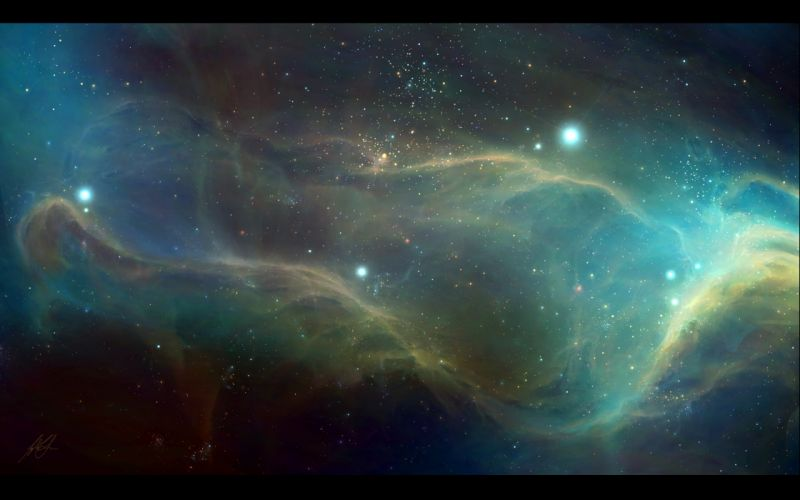 Outer space stars galaxies digital art artwork airbrushed wallpaper